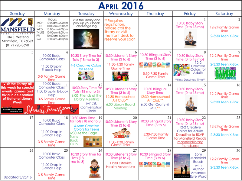 Mansfield Texas Library Calendar April 2016