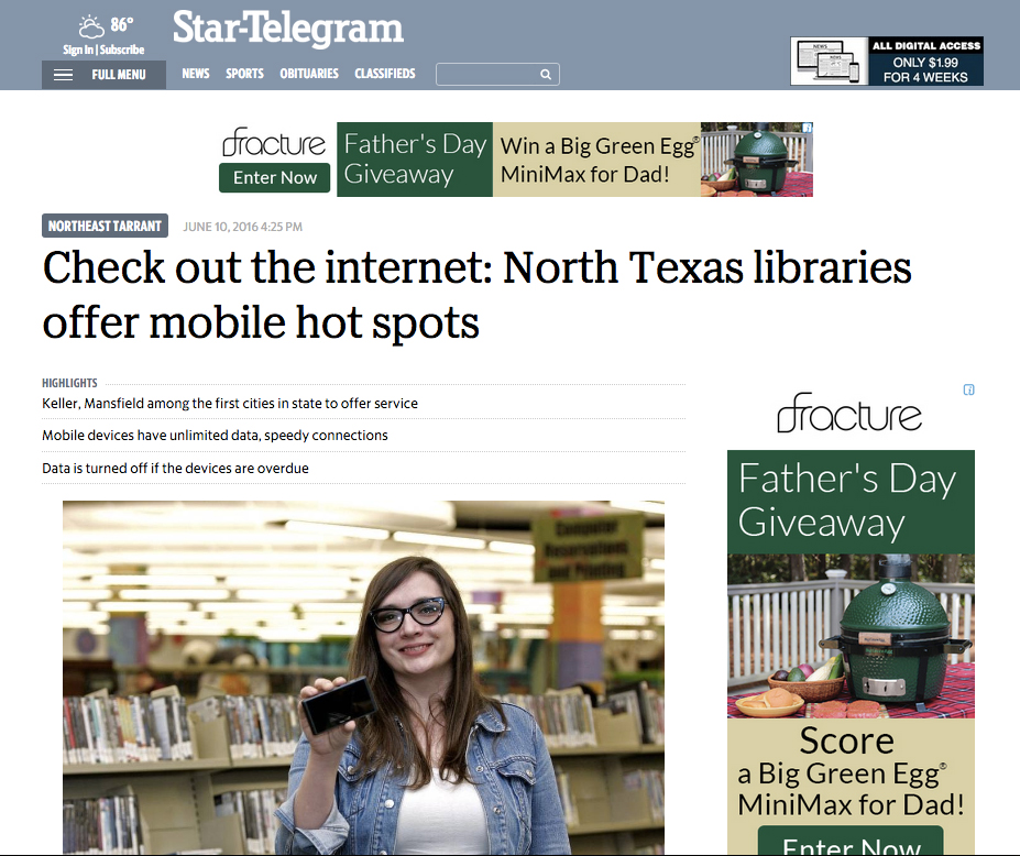 Star-Telegram Write About Mobile Hotspots at Mansfield Public Library